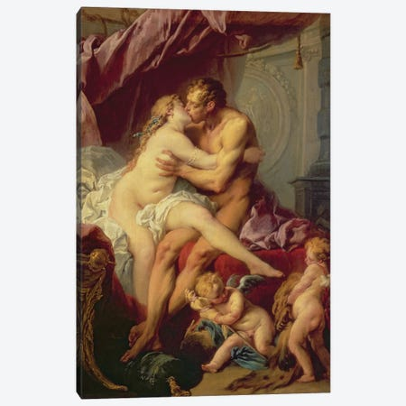 Hercules And Omphale Canvas Print #BMN11431} by Francois Boucher Canvas Print