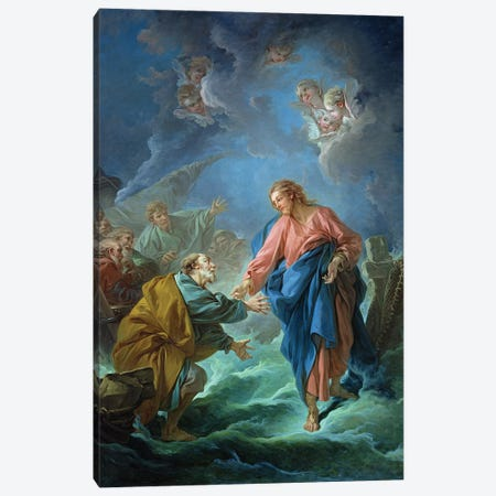 St. Peter Invited To Walk On The Water, 1766 Canvas Print #BMN11435} by Francois Boucher Canvas Artwork