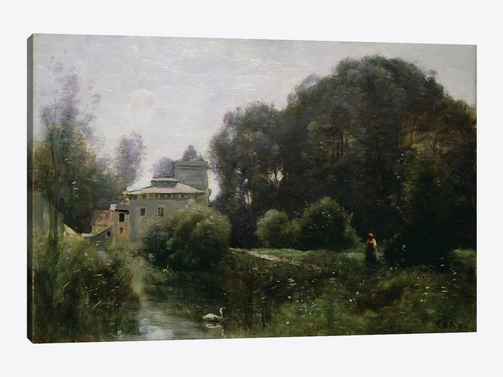 Souvenir of the Villa Borghese, 1855  by Jean-Baptiste-Camille Corot 1-piece Canvas Print