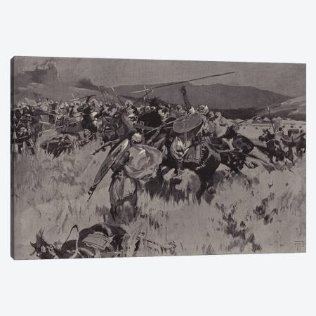 The British Force Withstanding A Cavalry Charge At Ugu (British Mission To Kano) Canvas Print #BMN11444} by Frank Craig Art Print