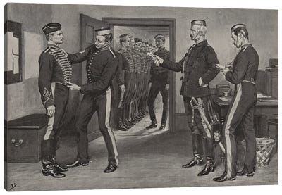 Fitting New Uniforms, A Scene At The Depot Of The Royal Horse Artillery (Illustration From The Graphic), April 25, 1896 Canvas Art Print