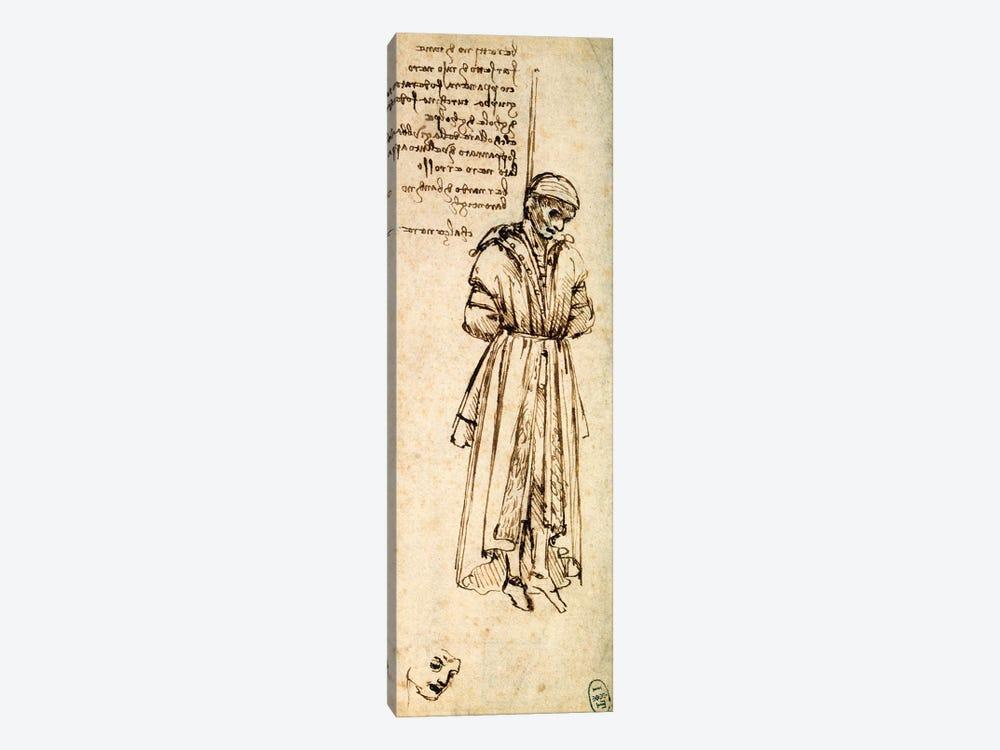 Study of the Hanged Bernardo di Bandino Baroncelli, assassin of Giuliano de Medici, 1479  by Leonardo da Vinci 1-piece Canvas Art