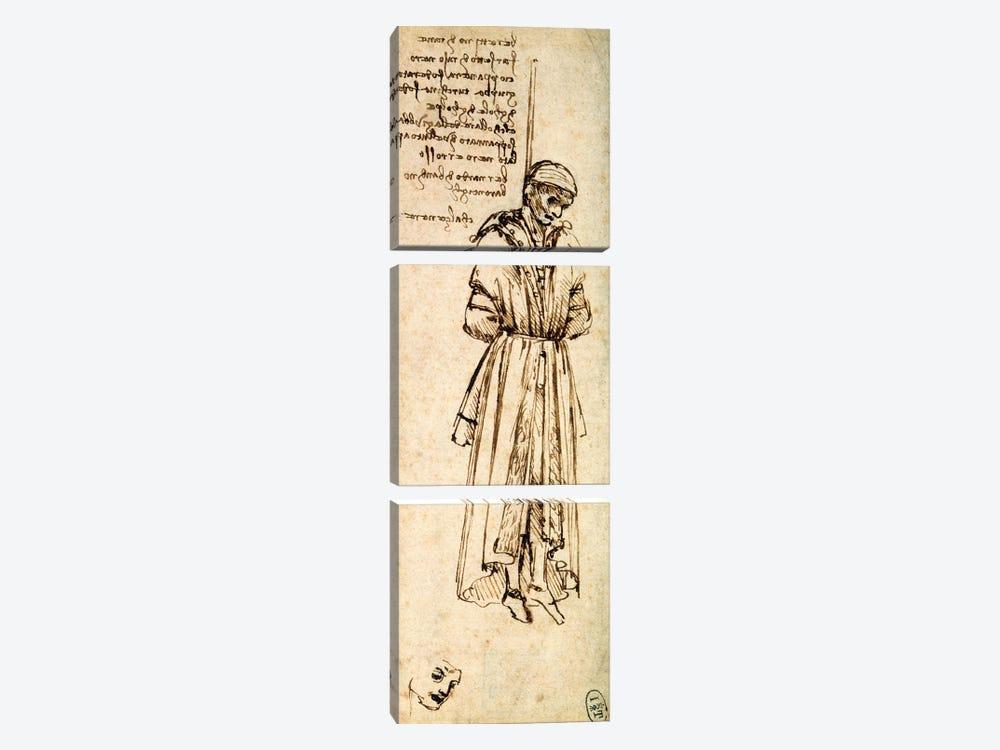 Study of the Hanged Bernardo di Bandino Baroncelli, assassin of Giuliano de Medici, 1479  by Leonardo da Vinci 3-piece Canvas Wall Art