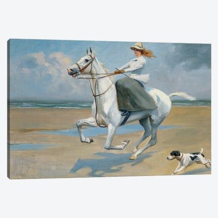 Riding On The Strand Canvas Print #BMN11451} by Frank P. Stonelake Canvas Art Print