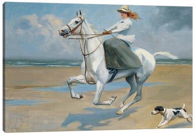 Riding On The Strand Canvas Art Print