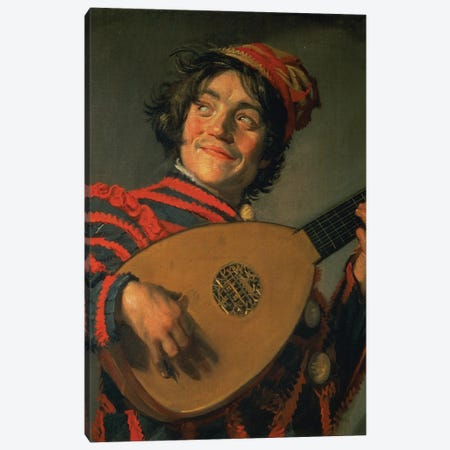 Portrait Of A Jester With A Lute Canvas Print #BMN11453} by Frans Hals the Elder Art Print