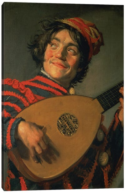 Portrait Of A Jester With A Lute Canvas Art Print
