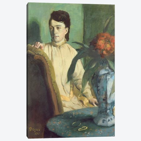 Woman with the Oriental Vase, 1872  Canvas Print #BMN1145} by Edgar Degas Canvas Artwork