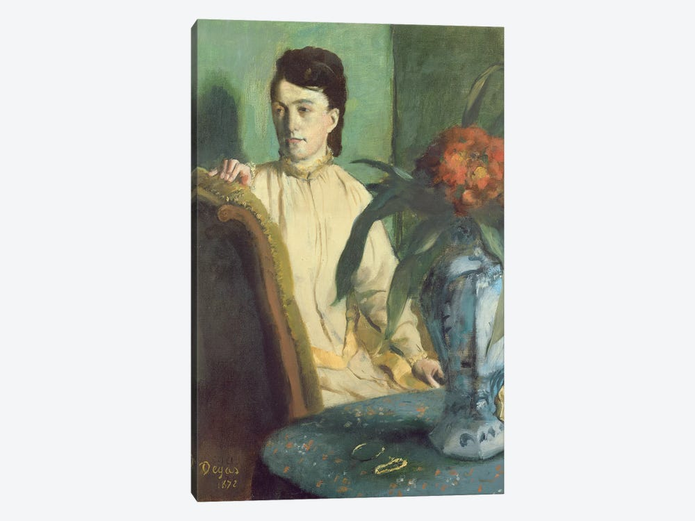 Woman with the Oriental Vase, 1872  by Edgar Degas 1-piece Canvas Art Print