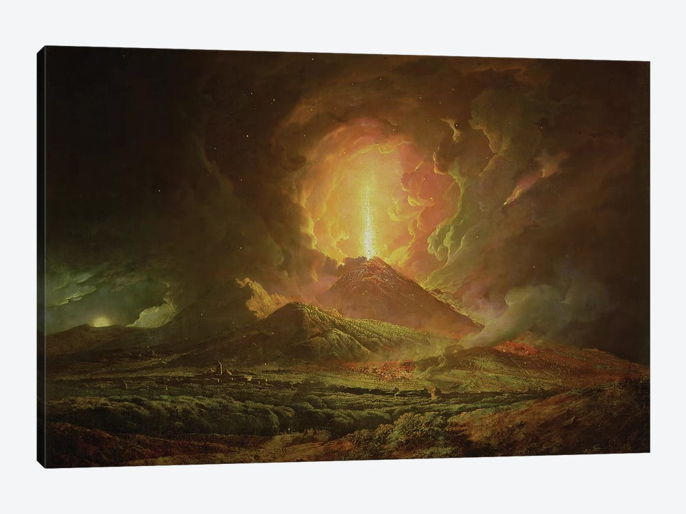 An Eruption of Vesuvius, seen from Portici, c.1774-6 by Joseph Wright of Derby 1-piece Canvas Art