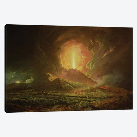 An Eruption of Vesuvius, seen from Portici, c.1774-6 Canvas Print #BMN1146} by Joseph Wright of Derby Canvas Wall Art