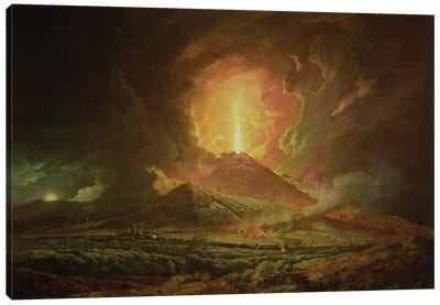 An Eruption of Vesuvius, seen from Portici, c.1774-6 Canvas Art Print