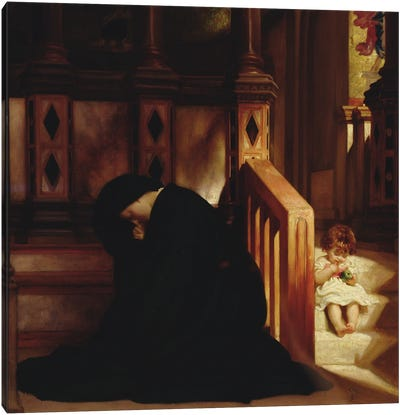 The Widow's Prayer, c.1864-65 Canvas Art Print