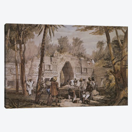 Gateway At Labnah, Yucatan, Mexico (Illustration From Views Of Ancient Monuments In Central America, Chiapas And Yucatan), 1844 Canvas Print #BMN11475} by Frederick Catherwood Canvas Wall Art