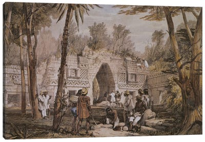 Gateway At Labnah, Yucatan, Mexico (Illustration From Views Of Ancient Monuments In Central America, Chiapas And Yucatan), 1844 Canvas Art Print