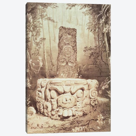 Idol And Altar, At Copan (Illustration From Views Of Ancient Monuments In Central America, Chiapas And Yucatan), 1844 Canvas Print #BMN11478} by Frederick Catherwood Canvas Art Print