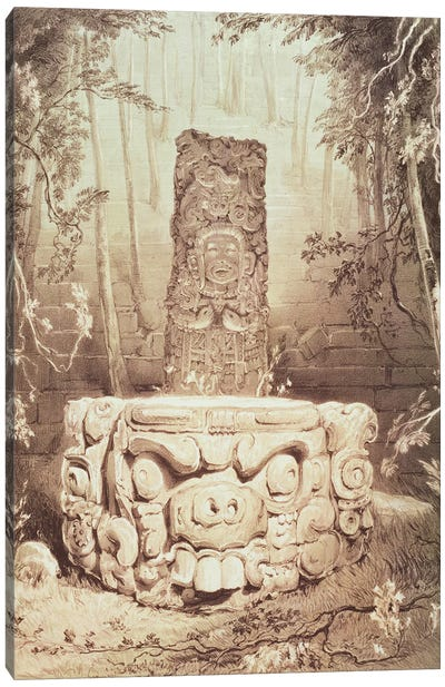 Idol And Altar, At Copan (Illustration From Views Of Ancient Monuments In Central America, Chiapas And Yucatan), 1844 Canvas Art Print