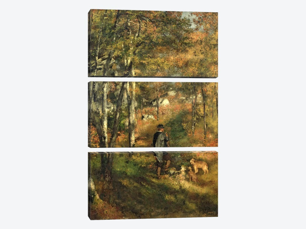 Jules Le Coeur in the Forest of Fontainebleau, 1866 by Pierre-Auguste Renoir 3-piece Canvas Art Print