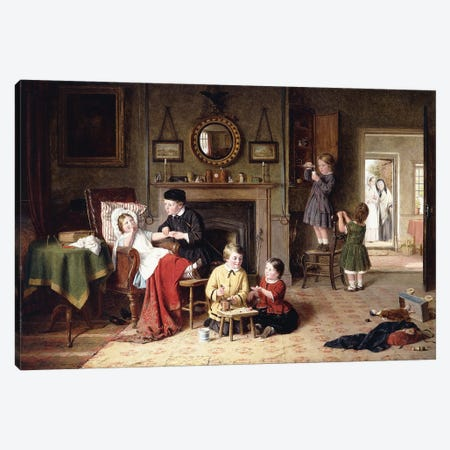 Playing Doctor, 1863 Canvas Print #BMN11480} by Frederick Daniel Hardy Canvas Art