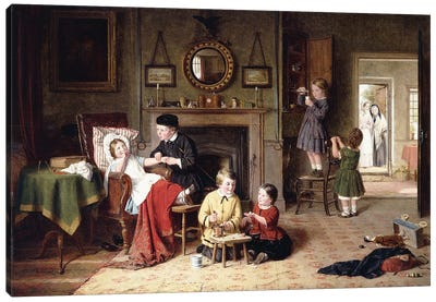 Playing Doctor, 1863 Canvas Art Print
