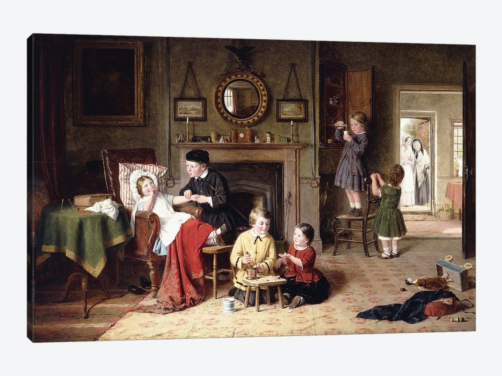 Playing Doctor, 1863 by Frederick Daniel Hardy 1-piece Canvas Art Print