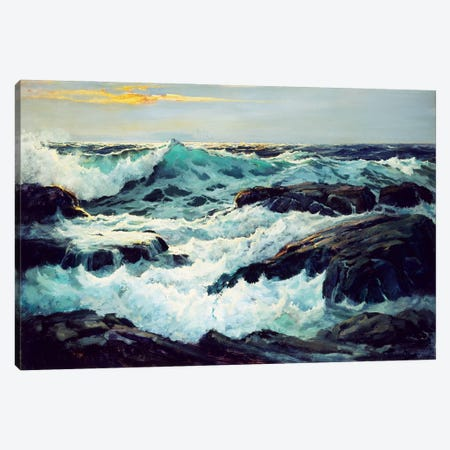 Surf And Headlands Canvas Print #BMN11484} by Frederick Judd Waugh Canvas Art Print