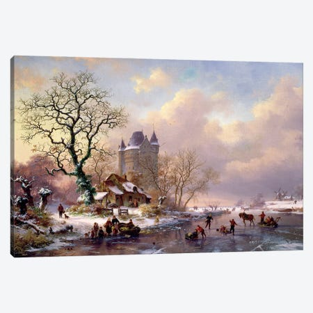 Winter Landscape With A Castle Canvas Print #BMN11487} by Frederick Marianus Kruseman Canvas Print