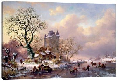 Winter Landscape With A Castle Canvas Art Print