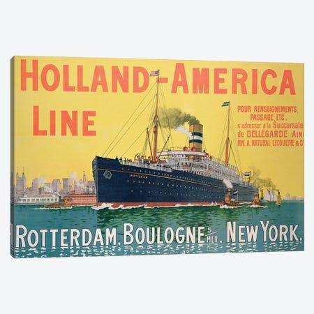 SS Potsdam, Holland-America Line (Rotterdam to New York City via Boulogne-sur-Mer) Advertisement Canvas Print #BMN11497} by French School Canvas Artwork