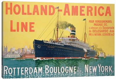 SS Potsdam, Holland-America Line (Rotterdam to New York City via Boulogne-sur-Mer) Advertisement Canvas Art Print