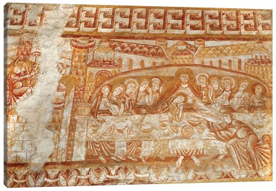 The Last Supper Frescoe, Church of Saint-Martin de Vic Canvas Art Print