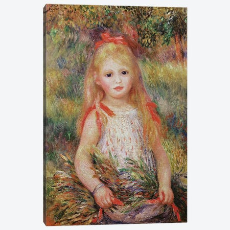 Little Girl Carrying Flowers, or The Little Gleaner, 1888  Canvas Print #BMN1149} by Pierre-Auguste Renoir Canvas Art Print