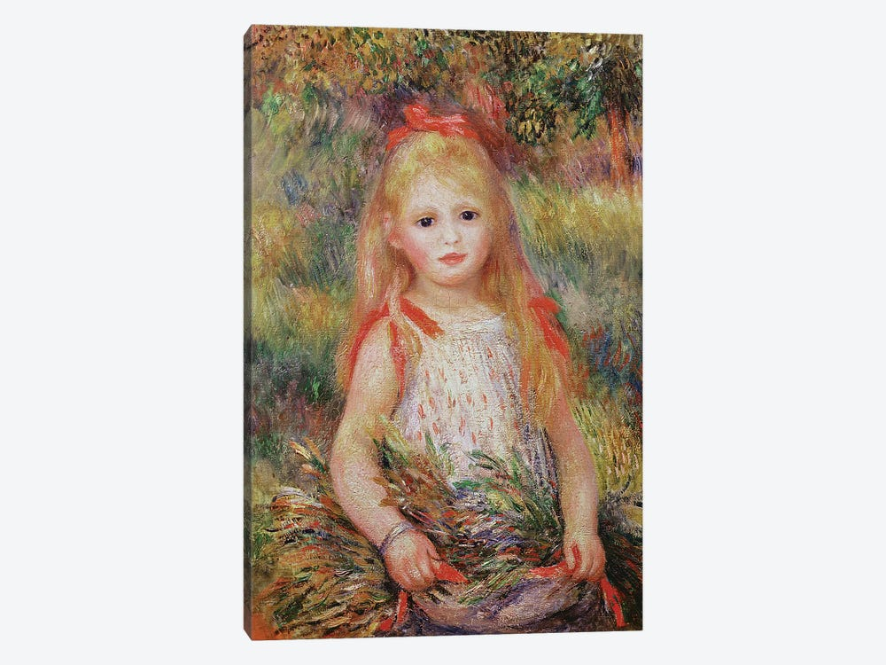 Little Girl Carrying Flowers, or The Little Gleaner, 1888  by Pierre-Auguste Renoir 1-piece Canvas Art Print