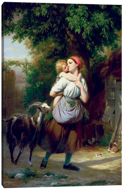 A Mother And Child With A Goat Canvas Art Print