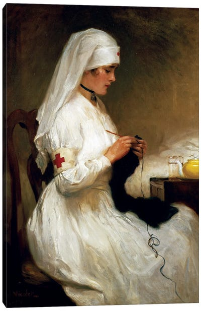 Portrait Of A Nurse From The Red Cross Canvas Art Print