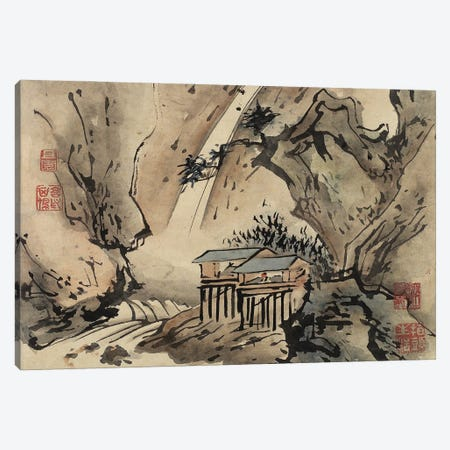 Two Houses, Finger Painting From An Album Of Ten Leaves, 1684 Canvas Print #BMN11511} by Gao Qipei Canvas Artwork