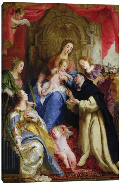 The Virgin Offering The Rosary To St. Dominic, 1641 Canvas Art Print