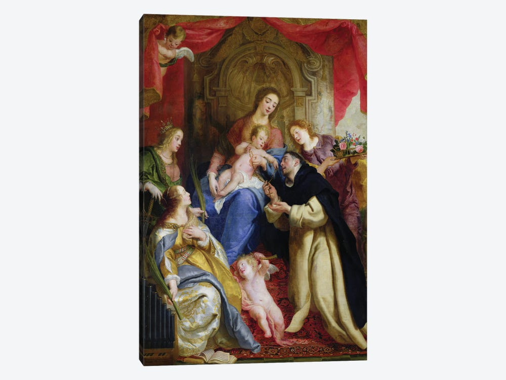 The Virgin Offering The Rosary To St. Dominic, 1641 by Gaspar de Crayer 1-piece Canvas Art Print