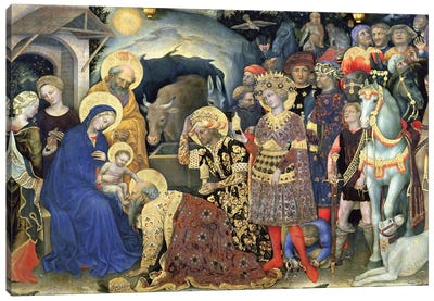Detail Of The Procession Meeting The Virgin Mary And The Newborn Jesus, Adoration Of The Magi, 1423 Canvas Art Print