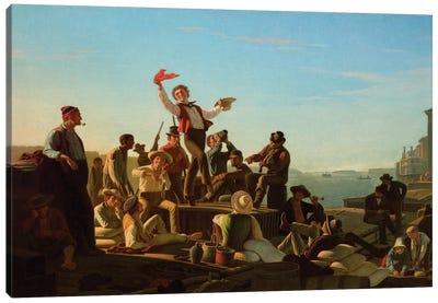 Jolly Flatboatmen In Port, 1857 Canvas Art Print