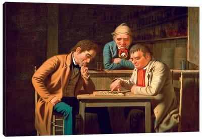 The Checker Players, 1850 Canvas Art Print