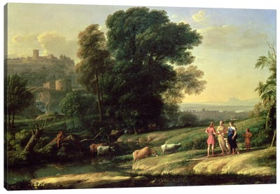 Landscape with Cephalus and Procris Reunited by Diana, 1645  Canvas Art Print
