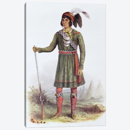 Osceola (Asseola), A Seminole Leader (From The Indian Tribes Of North America, Vol. II) Canvas Print #BMN11532} by George Catlin Canvas Artwork