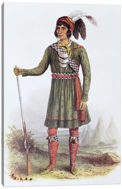 Osceola (Asseola), A Seminole Leader (From The Indian Tribes Of North America, Vol. II) Canvas Art Print