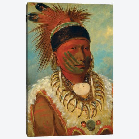 The White Cloud, Head Chief Of The Iowas, 1844-45 Canvas Print #BMN11537} by George Catlin Art Print