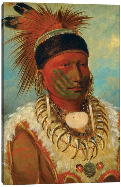 The White Cloud, Head Chief Of The Iowas, 1844-45 Canvas Art Print