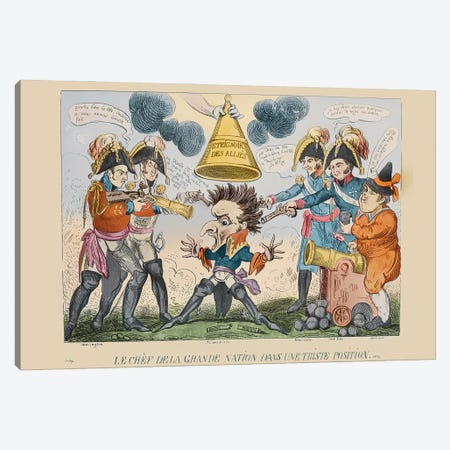 The Head Of The Great Nation In A Queer Situation, 1813 Canvas Print #BMN11539} by George Cruikshank Canvas Wall Art