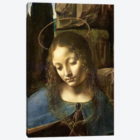Detail of the Head of the Virgin, from The Virgin of the Rocks  Canvas Print #BMN1153} by Leonardo da Vinci Canvas Art