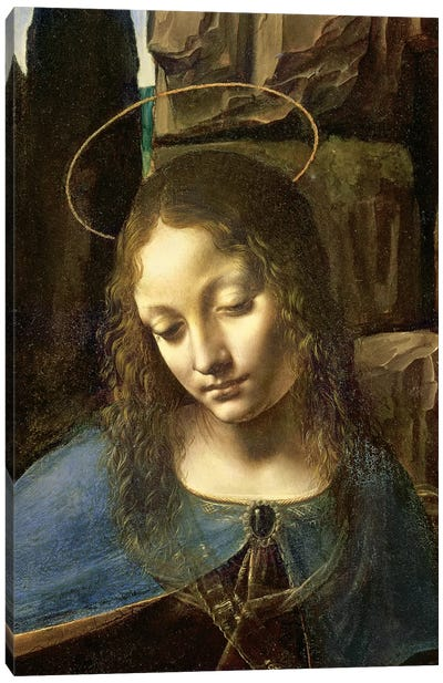 Detail of the Head of the Virgin, from The Virgin of the Rocks  Canvas Art Print