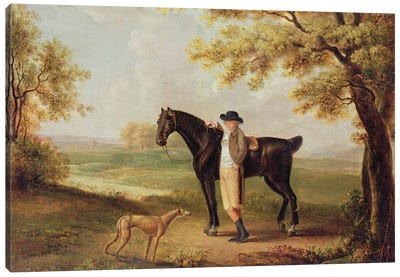 Horse, Rider And Whippet Canvas Art Print